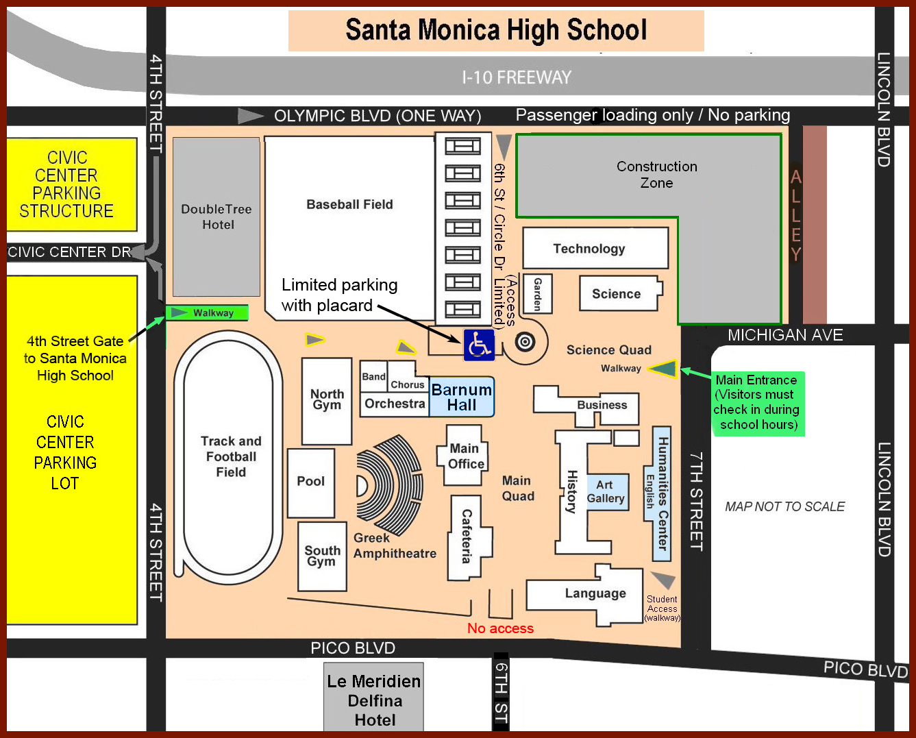 CLICK FOR SMMARTS HOME PAGE Map and Parking for Santa Monica High School  and Malibu campus. Maps of venue locations